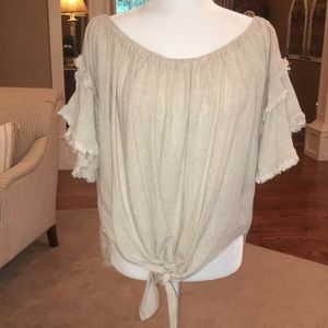 Umgee linen and cotton off the shoulder top